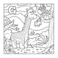 Coloring book (giraffe), colorless alphabet for children: letter
