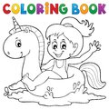 Coloring book girl floating on unicorn 1 Royalty Free Stock Photo