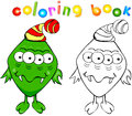 Coloring book green monster funny Royalty Free Stock Photos