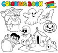 Coloring book with Halloween theme Royalty Free Stock Images