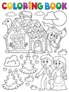 Coloring book Hansel and Gretel 1 Royalty Free Stock Photo
