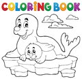 Coloring book happy seal with pup Royalty Free Stock Photo