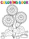 Coloring book with happy sunflowers Royalty Free Stock Photo