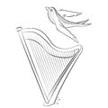 Coloring book with the harp and swallow. Illustration of a stringed musical instrument and a bird.