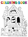 Coloring book haunted house with ghosts Royalty Free Stock Photo