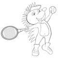 Coloring book hedgehog plays tennis.