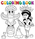 Coloring book Indian theme image 4 Royalty Free Stock Photo