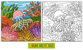 Coloring book (jellyfish and background) Royalty Free Stock Photo