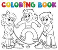 Coloring book kids play theme eps vector illustration Royalty Free Stock Photo