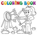 Coloring book kids play theme eps vector illustration Stock Photos