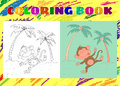 Coloring Book for Kids. Sketchy little pink monkey Royalty Free Stock Photo