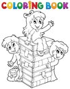 Coloring book kids theme eps vector illustration Stock Image