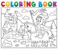 Coloring book knight on horse by castle Royalty Free Stock Photo