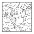 Coloring book koala colorless illustration letter k for children Royalty Free Stock Image
