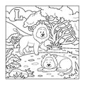 Coloring book (lion), colorless alphabet for children: letter L