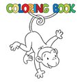Coloring book of litle funny monkey on lian