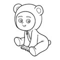Coloring book. Little boy in a bear suit Royalty Free Stock Photo