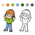Coloring book little boy listening to music on headphones for children Stock Photo