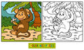 Coloring book little monkey with a banana for children Stock Photo