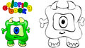 Coloring book monster vector illustration of funny green Stock Image