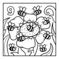 Coloring book, Nine bees