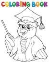 Coloring book owl teacher theme 3 Royalty Free Stock Photo