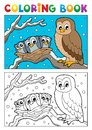 Coloring book owl theme 1 Royalty Free Stock Images