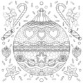 New year theme black and white poster with decorations, ribbon and snowflakes. Coloring book page for adults and kids