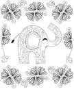 Coloring book page for adults line art creation, hand drawn elephant relax and meditation