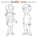Coloring book or page. Boy and girl Royalty Free Stock Photo