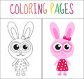 Coloring book page. Bunny, rabbit. Sketch and color version. Coloring for kids. Vector illustration Royalty Free Stock Photo