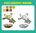 Coloring Book or Page Cartoon Illustration of funny bird with nest