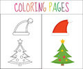 Coloring book page. Christmas, Santa hats and tree. Sketch color version. for kids. Vector illustration Royalty Free Stock Photo
