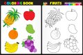 Coloring book page fruits nature for kids with colorful and sketches to color Royalty Free Stock Photo