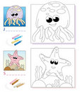 Coloring book page: jellyfish & starfish