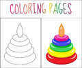 Coloring book page. Toy pyramid. Sketch and color version. Coloring for kids. Vector illustration
