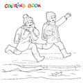 Coloring book or page. Two joyful boys running along the puddles of paper boats. Royalty Free Stock Photo