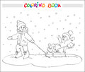 Coloring book or page. Two kids - boy and girl on sled. Royalty Free Stock Photo