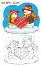 Coloring book or page. Two snowmen with heart. Royalty Free Stock Photo