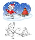 Coloring book or page. Vector mouse with gift.