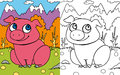 Coloring book pig Stock Image