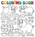 Coloring book pig theme eps vector illustration Royalty Free Stock Images