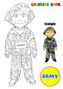 Coloring book profession army the illustration depicts a male soldier or can also describe a child male wearing an costume useful Stock Images