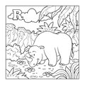 Coloring book rhino colorless alphabet for children letter r Royalty Free Stock Images