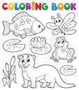Coloring book river fauna image 1 Royalty Free Stock Photo