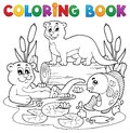 Coloring book river fauna image 3 Royalty Free Stock Photo