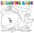 Coloring book sailor whale theme 1 Royalty Free Stock Photo