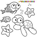 Coloring book sea animals set black and white outline images of page Stock Photos