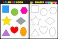 Coloring book shapes page for kids with colorful and sketches to color Stock Photography