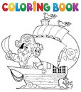 Coloring book ship with pirate eps vector illustration Royalty Free Stock Photo